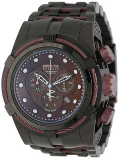 fec5b0dfcb2 Invicta Reserve 12733 Men s Zeus Watch Chronograph Brown MOP Dial With  Black Ion Stainless Steel