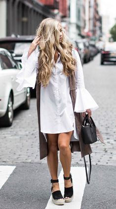 jessakae street style, womens fashion, bell sleeves, white dress, blonde hair, wavy hair