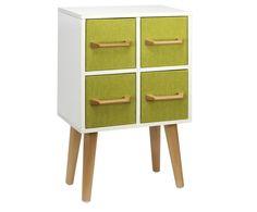 Comodino in abete Sophie-Marie, bianco/verde - 35x56x20 cm | Dalani Home & Living