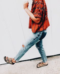 casual style in a boho blouse and Birkenstocks