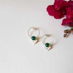 Sterling silver earrings with green agates /// by Eyes Of Ruby Jewelry