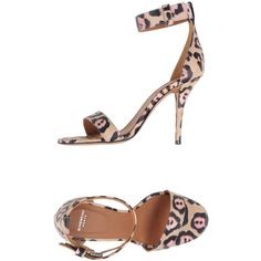 Givenchy Sandals ($619) ❤ liked on Polyvore featuring shoes, sandals, sand, givenchy, ankle tie shoes, ankle tie sandals, animal shoes and buckle shoes