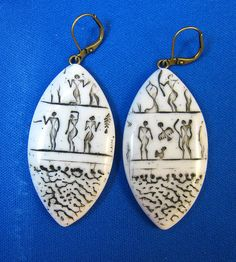 Faux Ivory Ancient People Hieroglyphics Rice Shape Earrings by DivaDesigns1, via Flickr