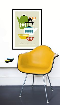 Cathrineholm poster print Mid Century Modern home kitchen art coffee vintage tea   - Vintage home Cathrineholm 4 - 50x 70 cm. $55.00, via Etsy.