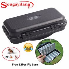 Sougayilang Durable ABS Plastic Foam Fishing Box Fly Fishing Lure Bait Hook Storage Fishing Tackle Case Free Send 12Pcs Fly Lure