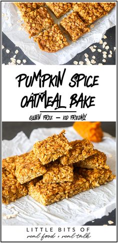 This Pumpkin Spice Oatmeal Bake is so delicious and perfect for kids in the morning! This Pumpkin Spice Oatmeal Bake is so delicious and perfect for kids in the morning! Oatmeal Recipes, Pumpkin Recipes, Fall Recipes, Yummy Recipes, Dessert Recipes, Healthy Recipes, Breakfast Time, Breakfast Recipes, Kitchens