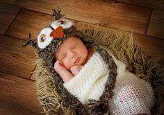 Crochet Furry Owl Hat  Photo by Harrill Photography