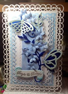 Hinged Filigree card using Spellbinders 5x7 Detailed Scallops Die/Tonic Viceroy Vines Butterfly die/Flowers - Tonic Stamp & Punch - Set 2.