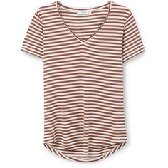MANGO Striped Bicolor T-Shirt ($15) ❤ liked on Polyvore featuring tops, t-shirts, shirts, tees, v-neck tee, short sleeve shirts, tee-shirt, short sleeve t shirts and v neck t shirts