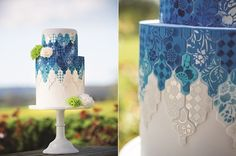 blue tiled wedding cake tutorial by Lindy Smith