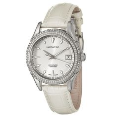Hamilton Women's 'Jazzmaster' White- Stainless-Steel Swiss Automatic Watch