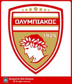 OLYMPIACOS Ferrari Logo, Porsche Logo, Jersey Atletico Madrid, Crests, Football Team, Team Logo, Branding Design, Soccer, Everything