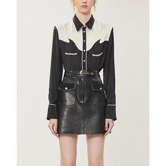 Maje Jisa Leather Mini Skirt In Black Leather Mini Skirts, Leather Skirt, Maje Clothing, Leather Cleaning, Leather Texture, World Of Fashion, Luxury Branding, Model, Shopping