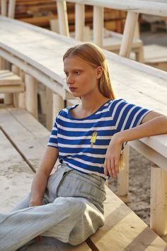 Cobalt-blue stripy tee embroidered with an ice lolly motif on the front. Cut from super-soft cotton jersey and shaped with a scoop neck for an easy fit. Ice Cotton, Cobalt Blue, Folk, Scoop Neck, Inspired, Tees, Fitness, Clothing, Summer