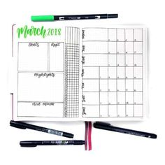 2019 Mega Guide to Bullet Journaling Printables} Monthly Bullet Journal Layout, Daily Bullet Journal, Bullet Journal Hacks, Bullet Journal How To Start A, Bullet Journals, Happy March, Journal Organization, Journal Template, Planner Pages