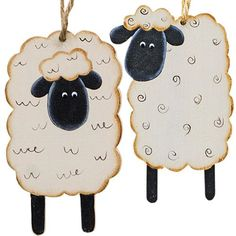 "Wooden sheep Christmas tree ornaments are 3½"" high by 2¼"" wide and dangle from jute hangers. Set of 8."