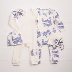 Newborn Girl Take Home Outfit, Baby Girl Blue Toile Romper and Optional Cap, Newborn Girl Outfit, Baby Girl Clothes, TesaBabe, Tesa Babe