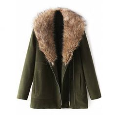 Brenda-Shop • Faux Fur Lapel Olive Coat