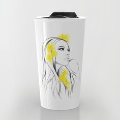 #travelmug #mug #woman #fashion #illustration #flowers #yellow