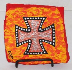 Studs/Flames/Metal/Punk Iron Cross Painting By Elissa Dawn Shakal (With Easel) #NA