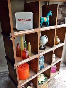 Vintage Industrial Workshop Pigeon Hole Shelving Bookcase Shop Display Cabinet