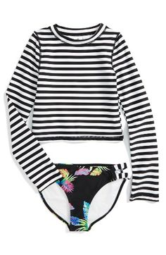Free shipping and returns on Tucker + Tate Two-Piece Rashguard Swimsuit (Big Girls) at Nordstrom.com. Jailbird stripes and vibrant flora stand out on a two-piece rashguard swimsuit that helps protect her from the sun's rays.