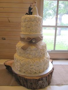 Rustic Buttercream Rosette Wedding Cake. I love this. It just needs a little pink in it.