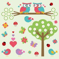 Valentine Vectors - Cartoon Nature Elements Flowers, Tree, Butterflies, Hearts, Birds