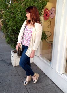 floral tank, open cardigan sweater, skinnies, striped wedges