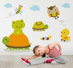 Cute Animals Wall Stickers for Baby's Room or Nursery (Wall Decals. Vinilos Adhesivos. Room Decor)
