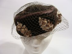 Vintage chocolate brown and Cream Flower Detail Pillbox Hat.