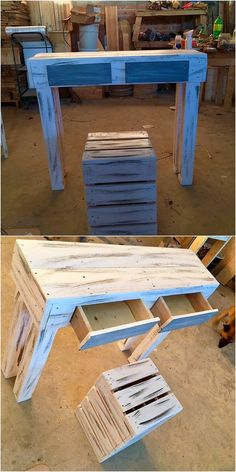 This is a giant creation of a wood pallet designing in the shape of the table with drawers and stool placement. It is all shaped in the compact medium form where you will be finding the taste of simple and plain outlook impact being part of it. You can use it for toddler study table as well.