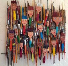 Here is what I made with 4 years of dead paint brushes from school. Each brush h… Here is what I made with 4 years of dead paint brushes from school. Each brush has a hanger so they can be sold individually or as a whole unit. Paint Brush Art, Paint Brushes, Collaborative Art, Assemblage Art, Recycled Art, Art Classroom, Art Club, Teaching Art, Teaching Kindergarten