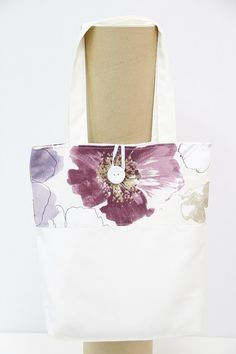 Handmade Shopping Bag, Shopping Bag, Tote Bag. Violet flowers  shopping bag. Purple flowers shopping bag. Flowers shopping bag