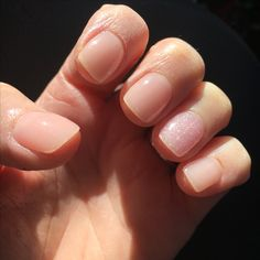 SNS A9 & F1 (on ring finger) Perfect nude made better with sparkle