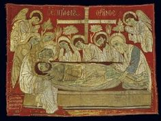 Epitaphios with gold-thread embroidery; a liturgical cloth depicting the Lament and used during Good Friday services. This inscribed handiwork by the needlewoman Theodosia Poulopos is dated 1599 and is one of the most important and earliest examples of ecclesiastical art of the post-Byzantine era. 0.80x1.07 m. (ΓΕ 9338) image and text copyright Benaki Museum