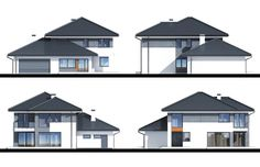 Design of house with a garage for 2 cars. It povides space for additional service or office, that is separated from the main building. This is an energy saving building. 4 Bedroom House Designs, Sims House Plans, 2 Storey House, Facade House, Modern House Design, Home Fashion, My Dream Home, Camper, Design Ideas