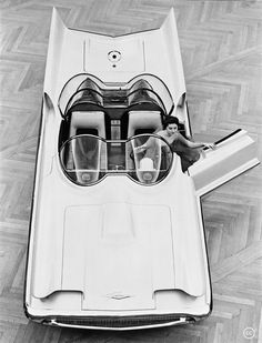 "The Futura Concept Car, 1954.    Via Wiki: ""The Lincoln Futura was a concept car designed by the Lincoln division of Ford Motor Company. It was built by Ghia entirely by hand in Italy at a cost of $250,000 and displayed on the auto show circuit in 1955. In 1966 the car was modified by George Barris into the Batmobile, for the 1966 TV series Batman."""