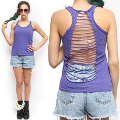 Forever 21 Lavender Purple Distressed Torn Ripped Open Racerback Tank Top | eBay