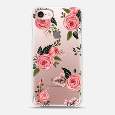 Pink Floral Flowers and Roses Chic Feminine Transparent Case 008 - Snap Case