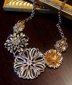 Upcycled Vintage Flower Necklace. via Etsy.
