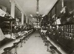 Waiting to serve in the Marshall Field's fabric department, 1914, Chicago.