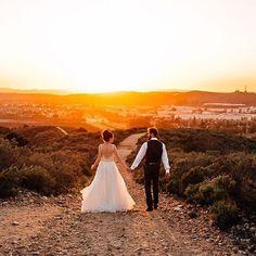 Saying goodnight with this beautiful image. Our Kai #weddingdress from @nicanddaybridal shot by @tminspired.  #Watters #weddinginspiration #brideandgroom #engaged #weddingphotography #goldenhour #sunsetdreams