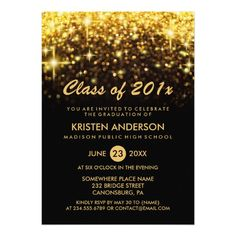 Class of 2019 Graduation Gold Glitter Glam Sparkle Invitation Get that special card for the graduation party. Graduation Party Supplies, Graduation Party Invitations, Gold Invitations, Graduation Ideas, Graduation Cards, Invitation Cards, Invites, Glitter Birthday Parties, Gold Birthday