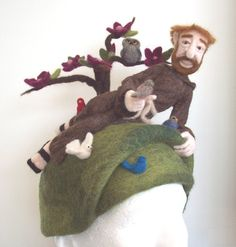 Needle Felted Hat Saint Francis of Assisi. I would never actually wear this. However, I appreciate the talent. In addition, Saint Francis is my favorite Saint due to his devotion to animals. ♥