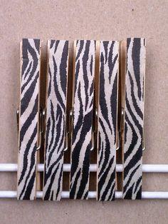 Cork Board Pin Clothespins - Zebra Print