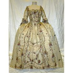 ca 1765-70 sumptuous silk sack back gown with embroidered ruching and fabric flowers. British