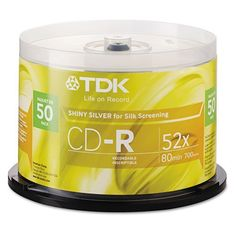 TDK - CD-R Discs, 700MB/80min, 52x, Spindle, Shiny Silver, 50/Pack - Sold As 1 Pack - Handy and versatile. by TDK. $22.89. TDK - CD-R Discs, 700MB/80min, 52x, Spindle, Shiny Silver, 50/PackHandy discs are great for burning music, backing up data, or transferring files. A cost-effective solution for all your data recording needs. Surface is easy to write on for faster labeling. Disk Type: CD-R.Lightscribe: NoLightscribe: NoBranded Surface: NoProtective Coating: NoPack...