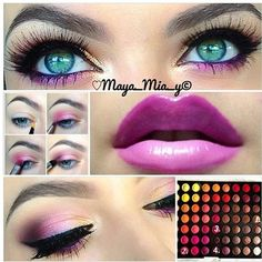 Purple lips and eyeshadow