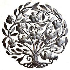 """Flower Tree of Life, Haiti Metal Wall Art Sculpture, Steel Drum, 22.5"""" X 23"""" it's cactus - metal art haiti http://www.amazon.com/dp/B00OBXJZTY/ref=cm_sw_r_pi_dp_UfyYwb1EPZEQZ"""